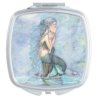 Mermaid and Baby Fantasy Art Travel Mirror