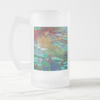 Mermaid and Butterflies Frosted Glass Beer Mug