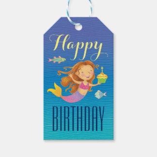 Mermaid and Cupcake Birthday Gift Tags