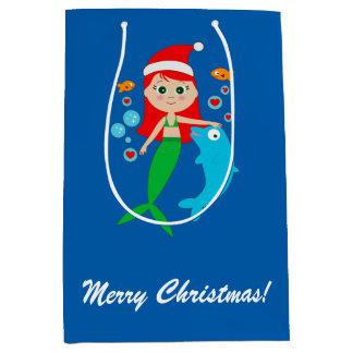 Mermaid and Dolphin Friends at Christmas Medium Gift Bag