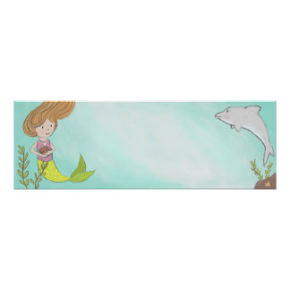 Mermaid and Dolphin Name Banner Poster