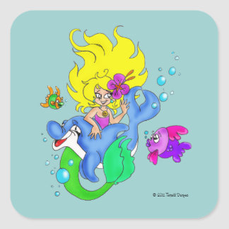 """Mermaid and Dolphin"" Sticker"