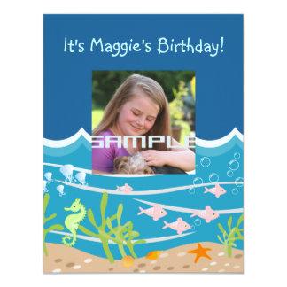 Mermaid and dolphins birthday party 11 cm x 14 cm invitation card