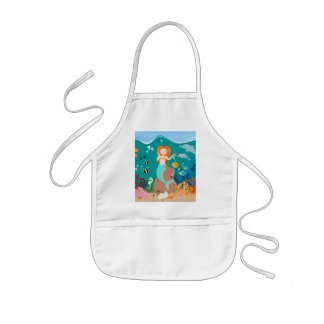 Mermaid and dolphins birthday party kids apron