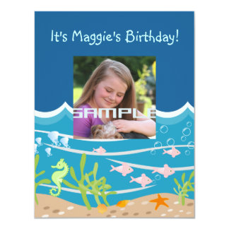 Mermaid and dolphins birthday party 11 cm x 14 cm invitation card