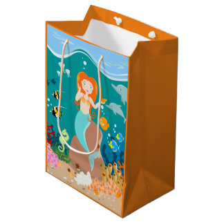 Mermaid and dolphins birthday party medium gift bag