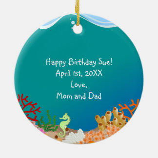Mermaid and dolphins birthday party round ceramic decoration