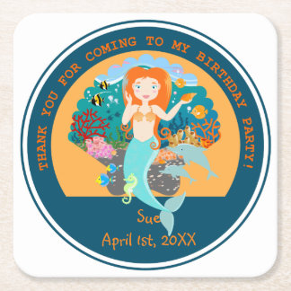 Mermaid and dolphins birthday party square paper coaster