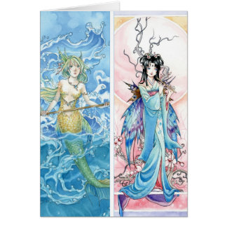 Mermaid and Fairy bookmarks Greeting Cards