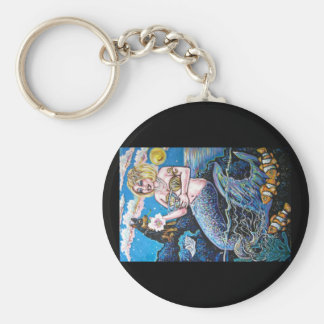 mermaid and her dog key ring