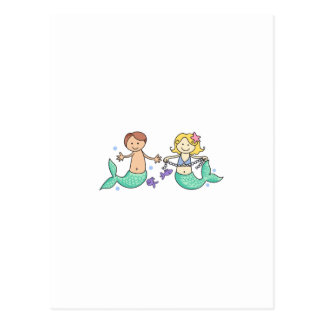 MERMAID AND MERBOY POSTCARD