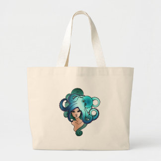 mermaid and octopus tote bag