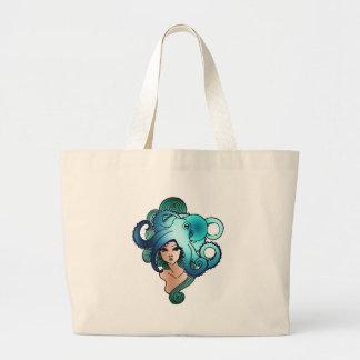 mermaid and octopus jumbo tote bag