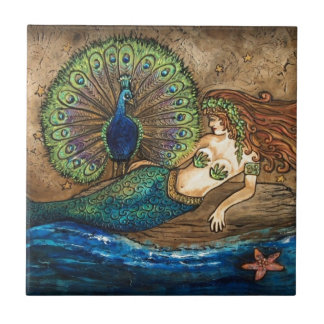 Mermaid and Peacock Small Square Tile