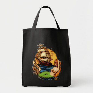 Mermaid and Pirate Ship Grocery Tote Bag