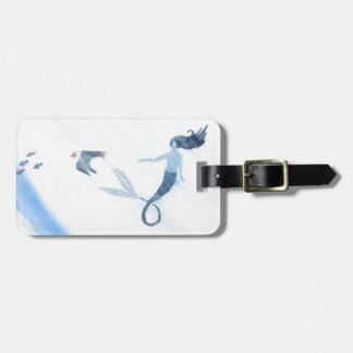 Mermaid and Puffin Bag Tag