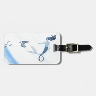 Mermaid and Puffin Luggage Tag