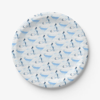 Mermaid and Puffin Paper Plate