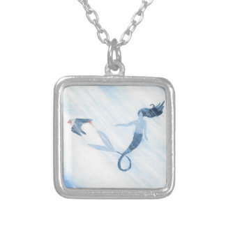 Mermaid and Puffin Silver Plated Necklace