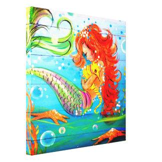 Mermaid and Seahorse Canvas Print
