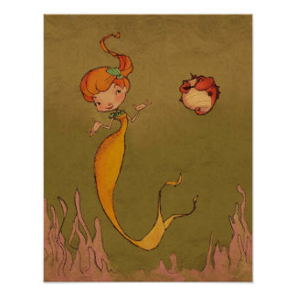 Mermaid and Seahorse Poster