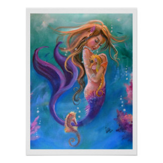 Mermaid and Seahorses, Colorful Poster