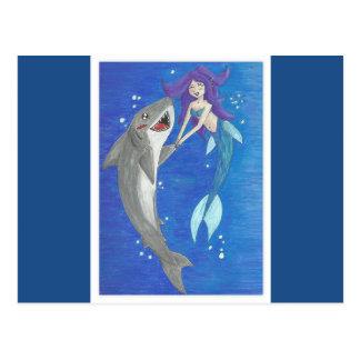 Mermaid and Shark Friends Postcard
