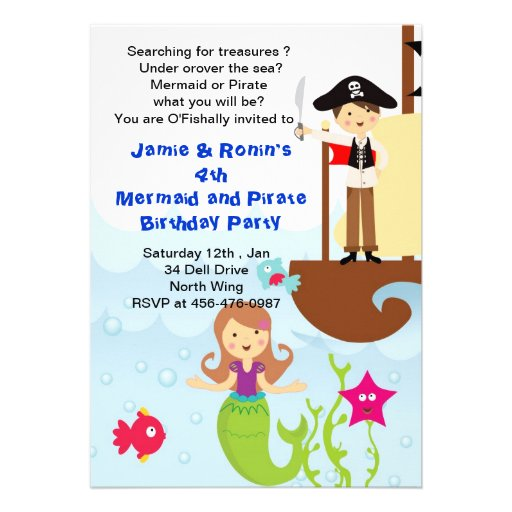 Mermaid and the Pirate Brithday Invitation