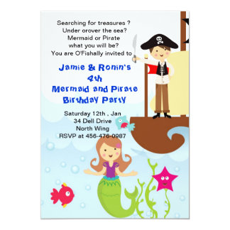Mermaid and the Pirate Brithday Invitation