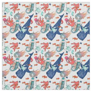Mermaid and Whale-shark Fabric