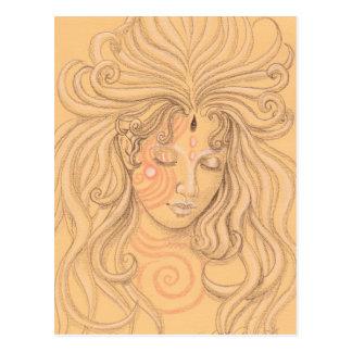 mermaid angel with tattoo postcard