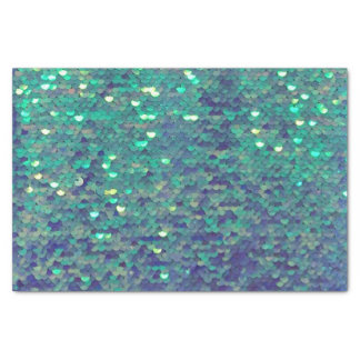 mermaid aqua blue teal faux sequin tissue paper
