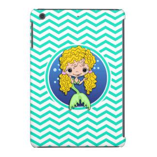 Mermaid; Aqua Green Chevron iPad Mini Cover