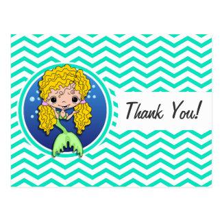 Mermaid; Aqua Green Chevron Post Card