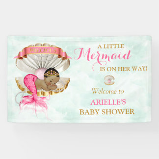Mermaid Baby Clam Shell Tiara African American Banner