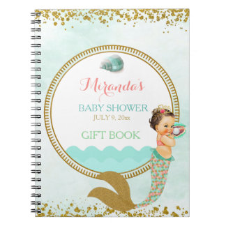 Mermaid Baby Girl Peach Mint Gold Coral Aqua Note Books