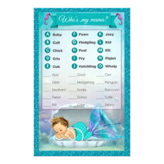 Mermaid Baby Shower Animal Match Game #130 Flyer