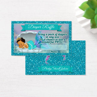 Mermaid Baby Shower Diaper Raffle Tickets #136