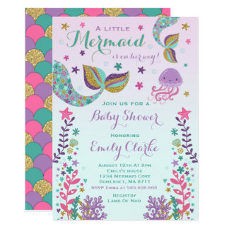 Mermaid Baby Shower Invitation Pink Gold Shower