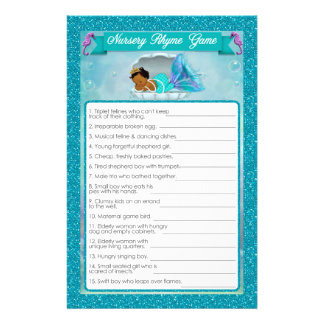 Mermaid Baby Shower Nursery Rhyme Game #135 Flyer