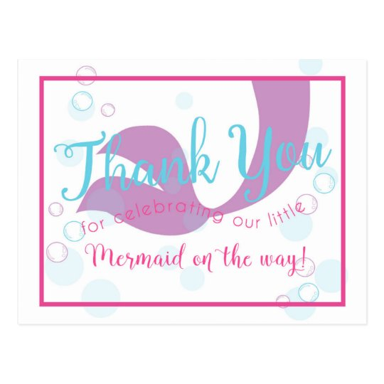Mermaid Baby Shower Thank You Note Card Zazzle Com Au
