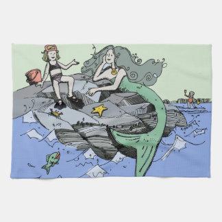 Mermaid Beach Cartoon Drawing Tea Towel