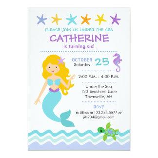 Mermaid Birthday Invitation Blonde Hair