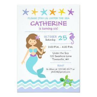 Mermaid Birthday Invitation Brown Hair