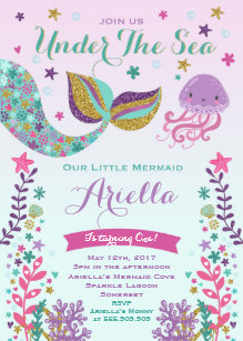 Under the sea birthday invitations zazzle mermaid birthday invitation under the sea party stopboris Images