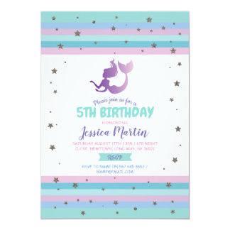 Mermaid Birthday Party Any Age 5th 6th 7th Invite