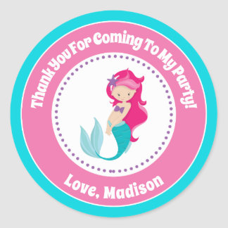Mermaid Birthday Party Favor Stickers