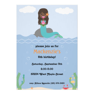 Mermaid Birthday Party Invitation - Dark Dark