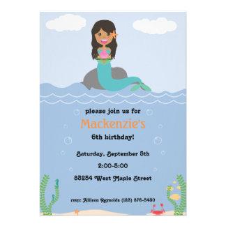 Mermaid Birthday Party Invitation - Tan Darkest