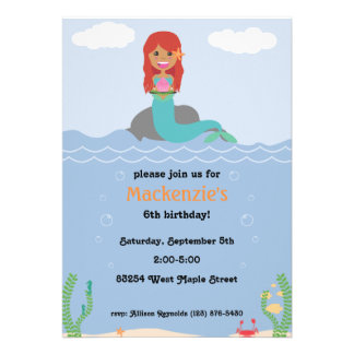 Mermaid Birthday Party Invitation - Tan Red